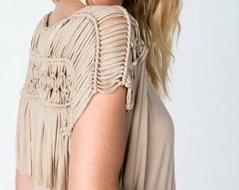BOHO Heroine Fashions:  BOHO-Chic Macrame Fringe Top In Taupe/Beige