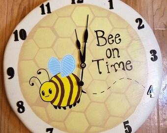 Wood Bee Clock, Handmade Wall Clock, Personalized hand painted clock, LifeWood