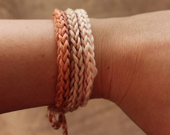 Rose Gold/Hazelnut/Pale Dogwood 100% Cotton handmade bracelet