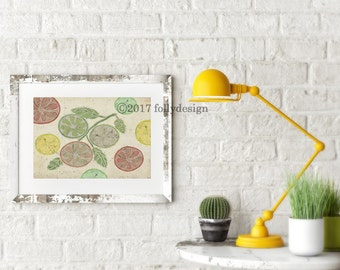 Citrus art print. Lemon, lime and grapefruit art print. Kitchen wall deor. Orange art. citrus poster. Lemon wall decor.  Fruit art print.