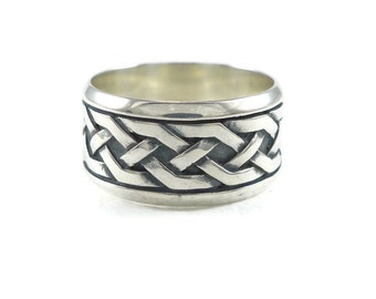 silver wedding ring, mens Wedding Ring, mens wide ring, Celtic Knot ring, Celtic silver ring, mens Engagement ring, mens Wedding band