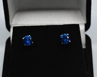 Blue Spinel Earrings 6mm Stud .925 Sterling silver