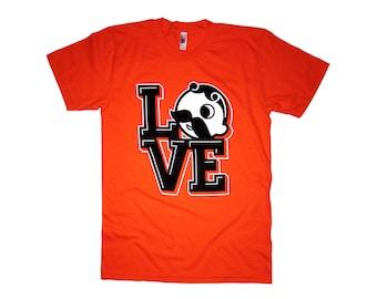 "Natty Boh / Baltimore / Maryland T-shirt | Orioles ""Love Boh"" Shirt - Orange | Super Rad Design"