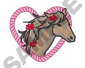 Horse In Rope Heart - Machine Embroidery Design