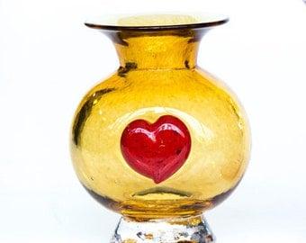 Glass Heart Vase