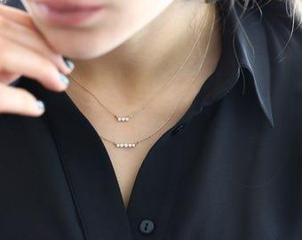 Bezel Set Diamond Necklace/ 14k gold 3 bezel set diamond horizontal bar necklace with 3pt white diamonds/ Diamond Necklace Graduation Gift