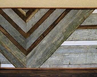 Reclaimed Wood Wall Art- Weathered Grey - Mosaic Art- Geometric Art-  Decort- Geometric Art decor- Barn wood Decor