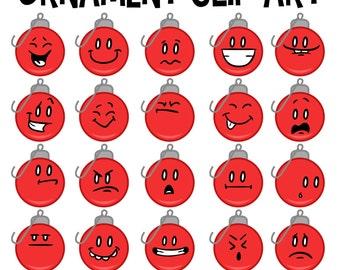 Christmas Ornament Clip Art, Ornament Faces, Christmas Emoticons, Emojis, Christmas School Download, Teacher Download Art, Facial Expression