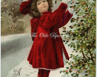 Vintage Christmas 1906 Postcard Little Girl in Red Picking Holly Berries on a Snowy Path