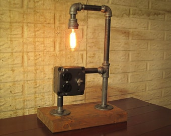Black Pipe Desk Lamp with Outlet