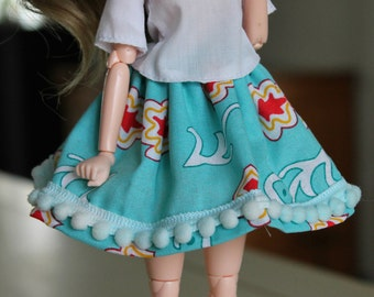 HHandmade pullip/ obitsu doll skirt with pompoms and elastic waistband