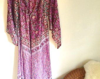 Vintage deadstock Indian Gauze Boho Silk Caftan Festival Maxi Dress Made in India, like Adini or Phool!