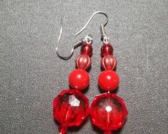 Beautiful Red Crystal Dangle Earrings in Silver