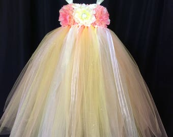 Peach and yellow flower girl dress, tulle flower girl dress, tutu dress for girls, tutu flower girl dress, wedding, floral bodice