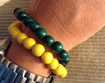 Stretchy wood bead bracelet - set of two.