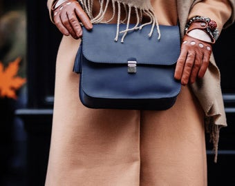 """Leather bag """"Amely"""", colour Night Sky, leather messenger bag"""