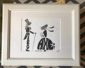 Personalized Name Art of Bride & Groom, Hand-drawn Wedding Anniversary Gift Portrait Illustration, Gepersonaliseerde naam kunst handtekenend