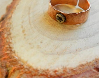 Copper adjustable ring with sterling silver star