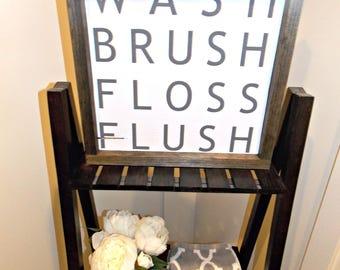 Wash brush floss flush | bathroom sign | 12x12 | rustic decor | wood sign | farmhouse | wall decor