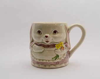 Bunny Rabbit Mug Otagiri Japan, Vintage Coffee Mug, Rabbit Decor