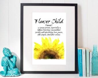 Flower Child Art Print, Flower Child Wall Art, Flower Child Art, Flower Child Decor, Flower Child Printable, Boho Floral Wall Art, Floral