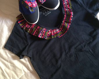 African pattern t-shirt and slippers