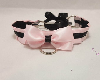 Pink & Black Pleated Cosplay/Kitten Play Collar