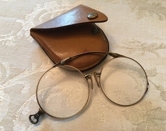 Antique Oxford Steampunk Pince Nez Z-Fold 1/10 12K Gold Filled Eyeglasses with Leather Case