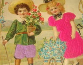 SALE Vintage Silk Postcard (Children)