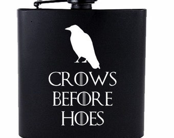 Crows Before H // Gift for Him // Funny Flask // Hip Flask for Men // 21st Birthday Gift // 7 oz