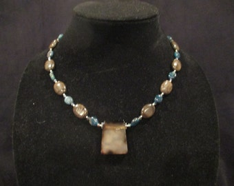 Smoky agate pendant necklace with sterling silver and apatite
