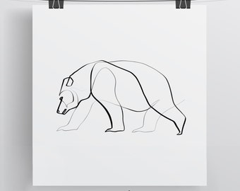 bear art print bear drawing calligraphy art one line art bear gift
