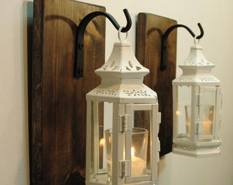 Farmhouse Lanterns, Shabby Lanterns, Victorian decor, Farmhouse decor, Wall Decor, wall sconce, Candle Lanterns, White Lanterns,Rustic decor