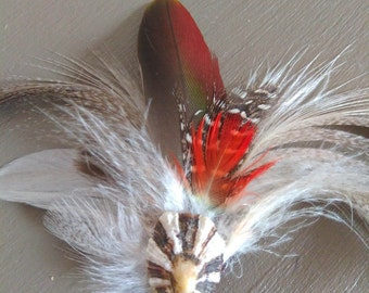 Natural feather brooch