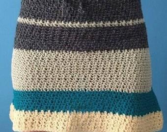 Single crochet green knit skirt