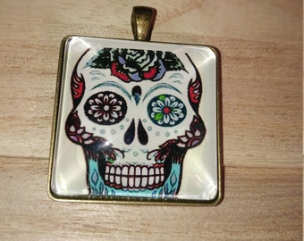Day of the Dead TATTOO Pendant Skull Pendant ,Skull Chain Necklace ,Day of the Dead antique bronze Necklace