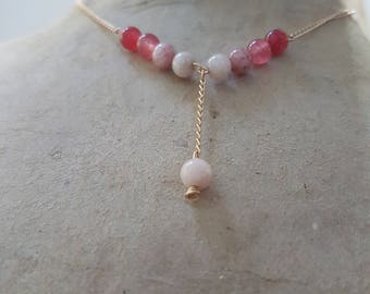 Agate necklace - 24k gold - plated pink tones