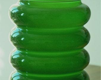 Green glass pot of 70s. Vintage glass vase.