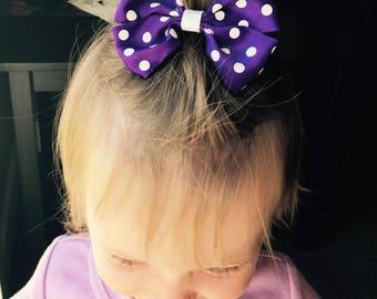 "Purple and White Polka Dot Bow Hair Accessory - 3.5"""