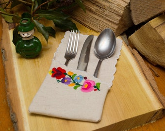 Hungarian embroidered Burlap Silverware Holder from Kalocsa