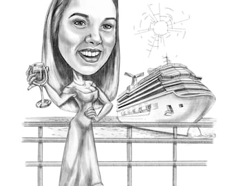 Custom Pencil Caricature, cartoon from photo (Full Body)