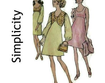 Vintage 70's Sewing Pattern-Simplicity 1970 Dress Pattern 8546-Late 60's A Line dress, matching bolero - Size 10 Miss Petites Bust 32 1/2""