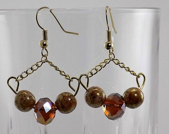 Trapeze chandeliers, Czech glass beads, brown, gold, sparkling