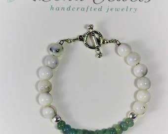 Aquamarine & Howlite bracelet with Aquamarine drop, Natural Stone