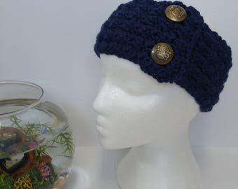 Navy Adult Headband with Faux Button Closure - Handmade Crochet