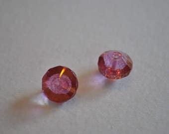 Fuschia pink Czech glass beads, saucer beads, hot pink