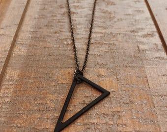 Men's Triangle Pendant Necklace- Minimal