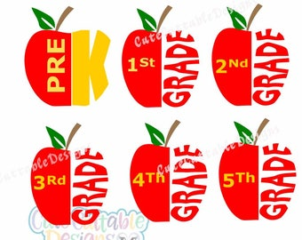 SALE School Grade Apple SVG cuttable design. Back to School Teacher Svg, Graduation appreciation Svg, Eps, DXf, Silhouette3, png Cut file