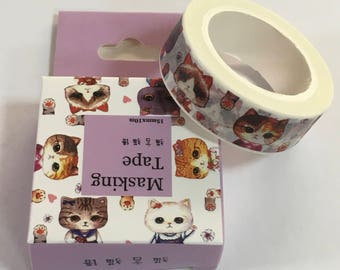 Japanese Masking Tape - Cat Design Tape - Masking Tape - Decorative Tape - Gift Wrapping Tape - Scrapbooking Tape - Japanese Tape