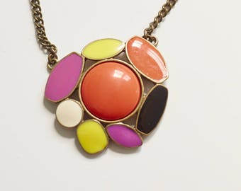 Pop Art, Necklace, Enamel, Bright, Summer, Vintage Jewelry, Colorblock, Retro, Unsigned